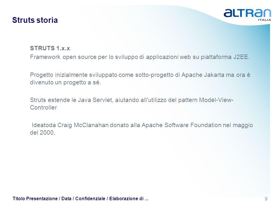 9 Titolo Presentazione / Data / Confidenziale / Elaborazione di... Struts storia STRUTS 1.x.x Framework open source per lo sviluppo di applicazioni we