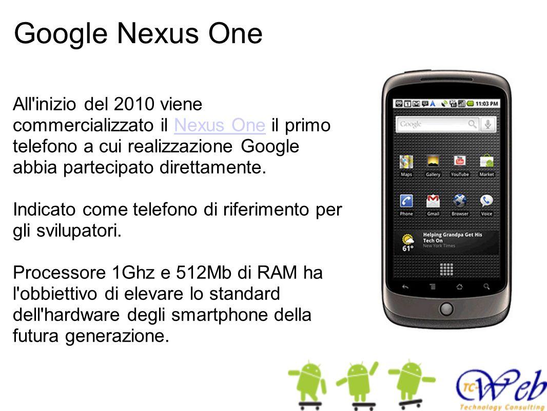 Google Nexus One All'inizio del 2010 viene commercializzato il Nexus One il primo telefono a cui realizzazione Google abbia partecipato direttamente.N