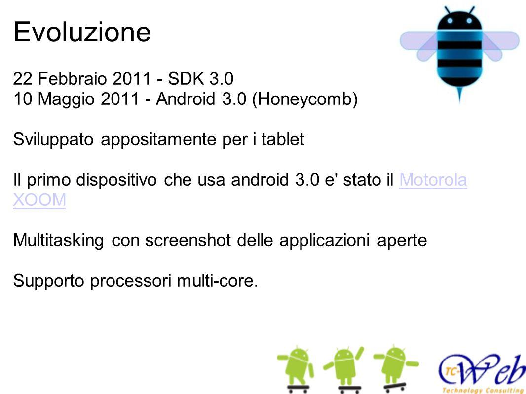 Evoluzione 22 Febbraio 2011 - SDK 3.0 10 Maggio 2011 - Android 3.0 (Honeycomb) Sviluppato appositamente per i tablet Il primo dispositivo che usa andr