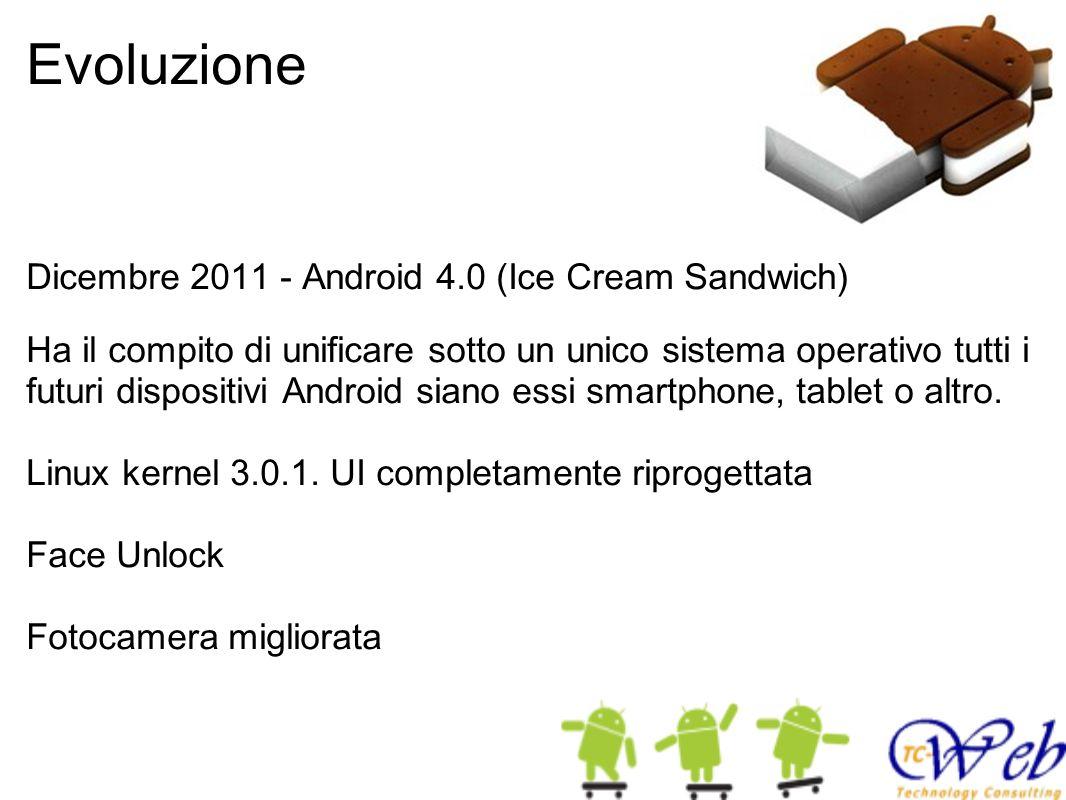 Evoluzione Dicembre 2011 - Android 4.0 (Ice Cream Sandwich) Ha il compito di unificare sotto un unico sistema operativo tutti i futuri dispositivi And