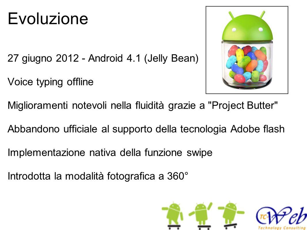 Evoluzione 27 giugno 2012 - Android 4.1 (Jelly Bean) Voice typing offline Miglioramenti notevoli nella fluidità grazie a
