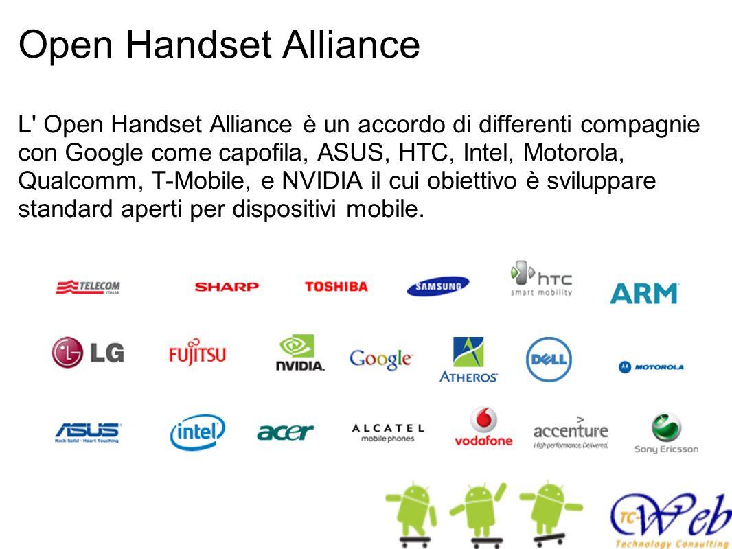 Open Handset Alliance L' Open Handset Alliance è un accordo di differenti compagnie con Google come capofila, ASUS, HTC, Intel, Motorola, Qualcomm, T-
