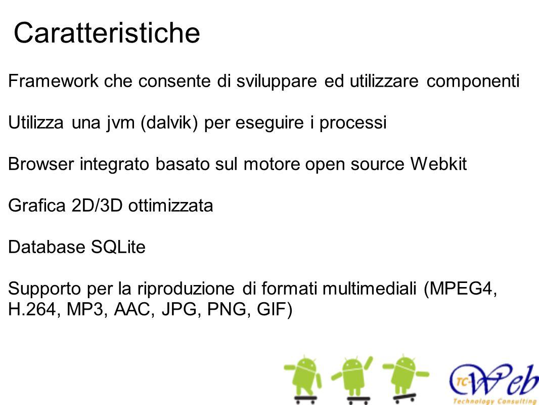 Caratteristiche Framework che consente di sviluppare ed utilizzare componenti Utilizza una jvm (dalvik) per eseguire i processi Browser integrato basa