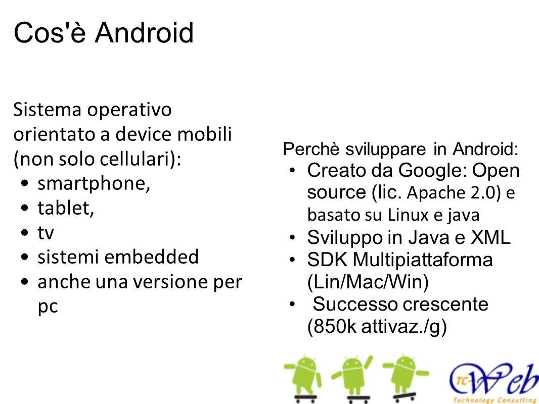 Evoluzione 22 Febbraio 2011 - SDK 3.0 10 Maggio 2011 - Android 3.0 (Honeycomb) Sviluppato appositamente per i tablet Il primo dispositivo che usa android 3.0 e stato il Motorola XOOMMotorola XOOM Multitasking con screenshot delle applicazioni aperte Supporto processori multi-core.