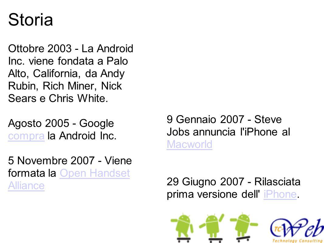Storia Ottobre 2003 - La Android Inc. viene fondata a Palo Alto, California, da Andy Rubin, Rich Miner, Nick Sears e Chris White. Agosto 2005 - Google