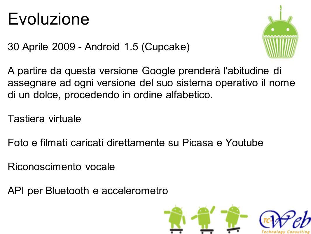 Evoluzione 30 Aprile 2009 - Android 1.5 (Cupcake) A partire da questa versione Google prenderà l'abitudine di assegnare ad ogni versione del suo siste