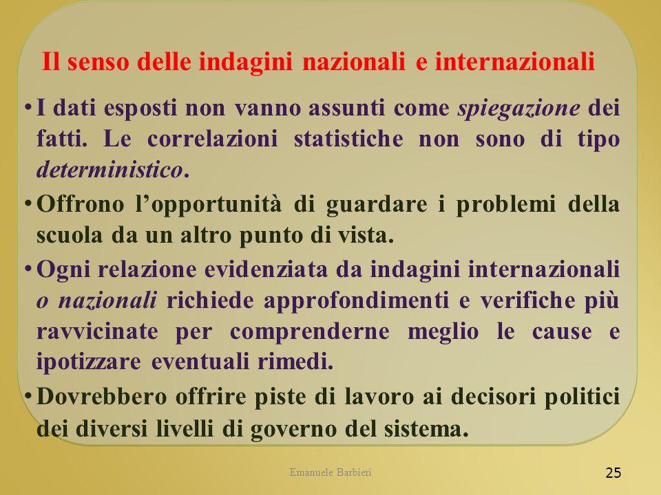 Emanuele Barbieri 25 Il senso delle indagini nazionali e internazionali I dati esposti non vanno assunti come spiegazione dei fatti. Le correlazioni s