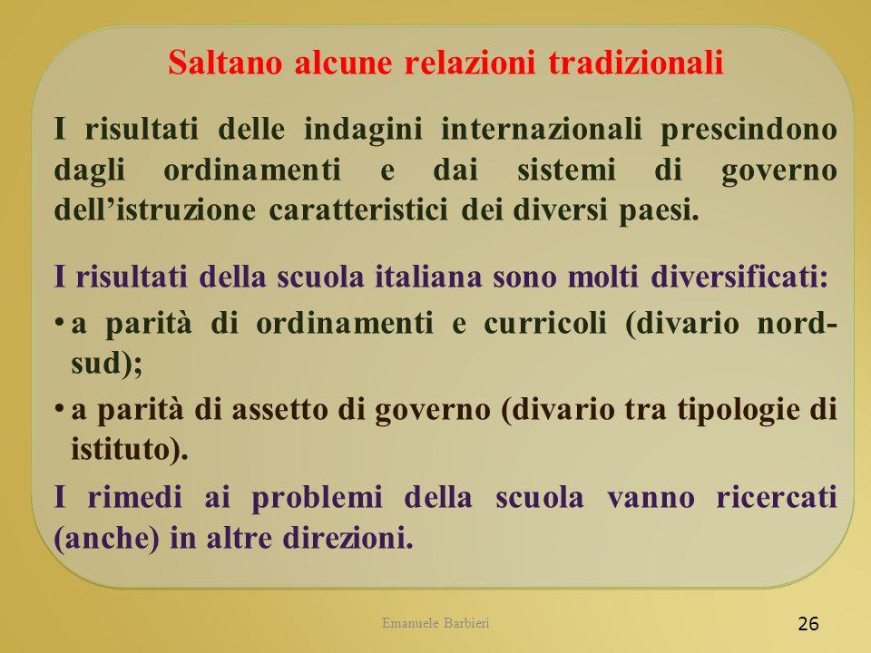 Emanuele Barbieri 26 Saltano alcune relazioni tradizionali I risultati delle indagini internazionali prescindono dagli ordinamenti e dai sistemi di go