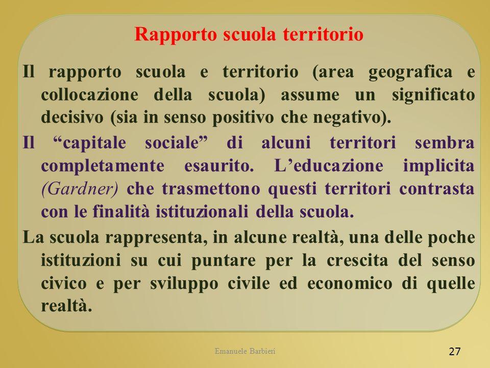 Emanuele Barbieri 27 Rapporto scuola territorio Il rapporto scuola e territorio (area geografica e collocazione della scuola) assume un significato de