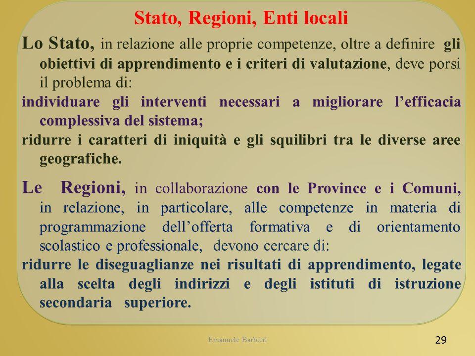 Emanuele Barbieri 29 Stato, Regioni, Enti locali Lo Stato, in relazione alle proprie competenze, oltre a definire gli obiettivi di apprendimento e i c