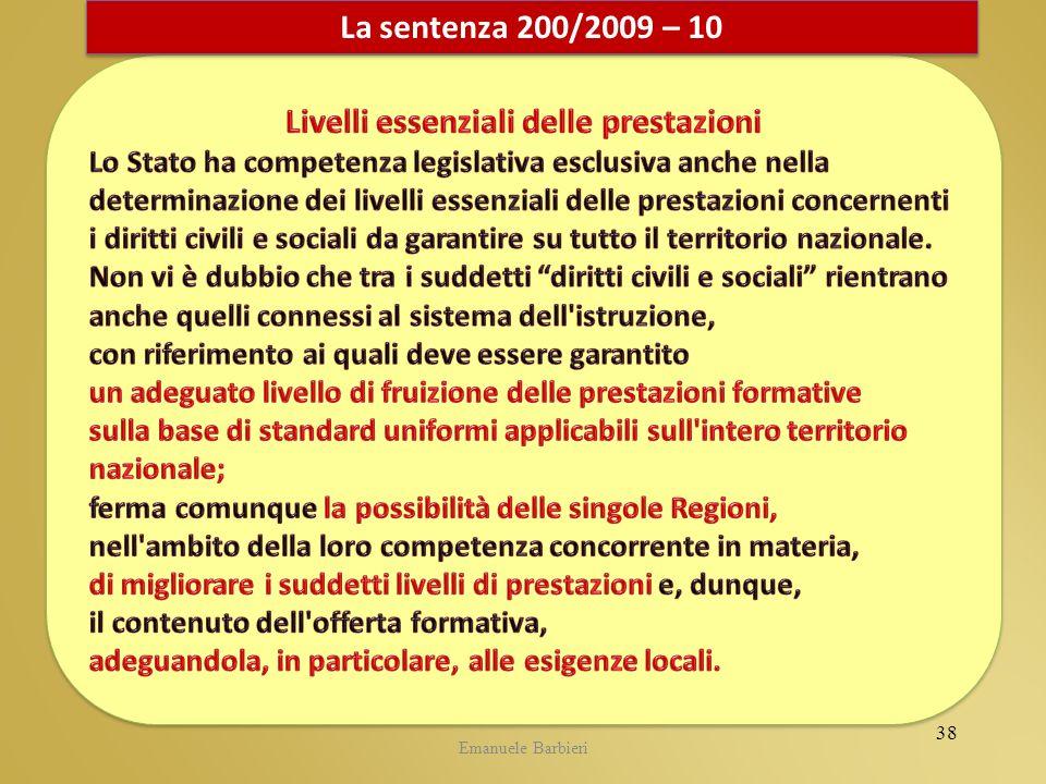Emanuele Barbieri La sentenza 200/2009 – 10 38