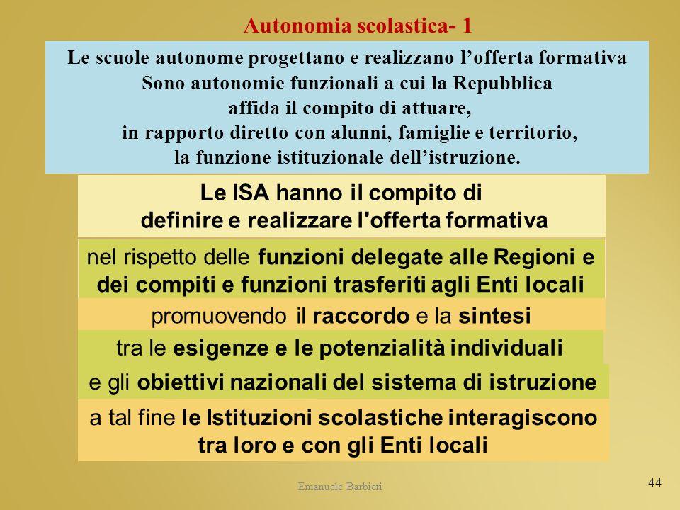 Emanuele Barbieri 44 Le ISA hanno il compito di definire e realizzare l'offerta formativa nel rispetto delle funzioni delegate alle Regioni e dei comp
