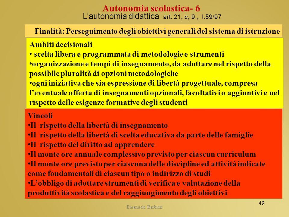 Emanuele Barbieri Lautonomia didattica art. 21, c, 9., l.59/97 Ambiti decisionali scelta libera e programmata di metodologie e strumenti organizzazion