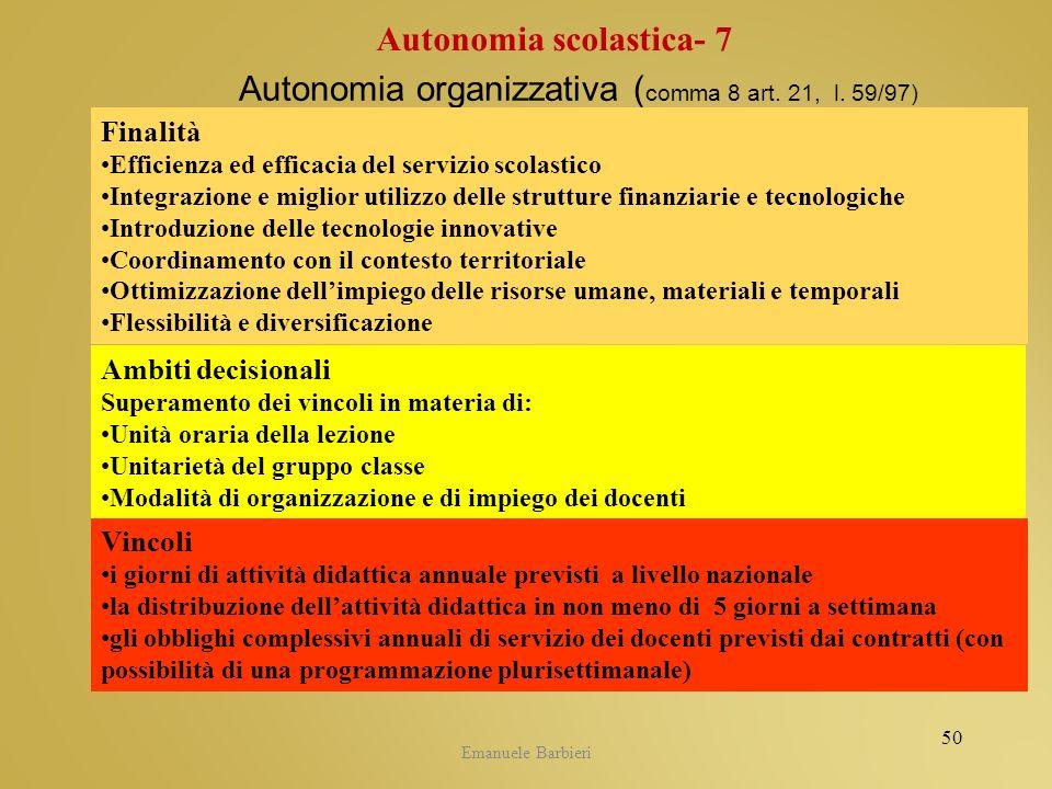 Emanuele Barbieri Autonomia organizzativa ( comma 8 art. 21, l. 59/97) Finalità Efficienza ed efficacia del servizio scolastico Integrazione e miglior