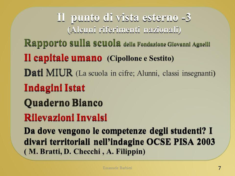 Emanuele Barbieri 7 Il punto di vista esterno -3 (Alcuni riferimenti nazionali) Rapporto sulla scuola della Fondazione Giovanni Agnelli Il capitale um