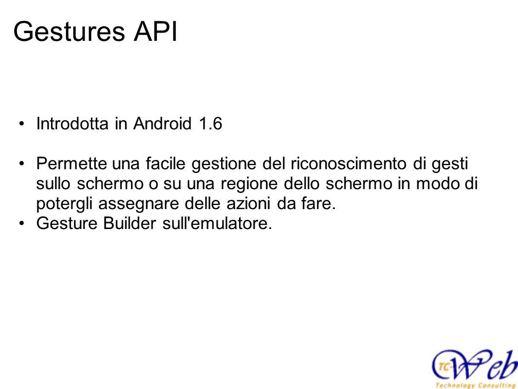 Gestures API Introdotta in Android 1.6 Permette una facile gestione del riconoscimento di gesti sullo schermo o su una regione dello schermo in modo di potergli assegnare delle azioni da fare.