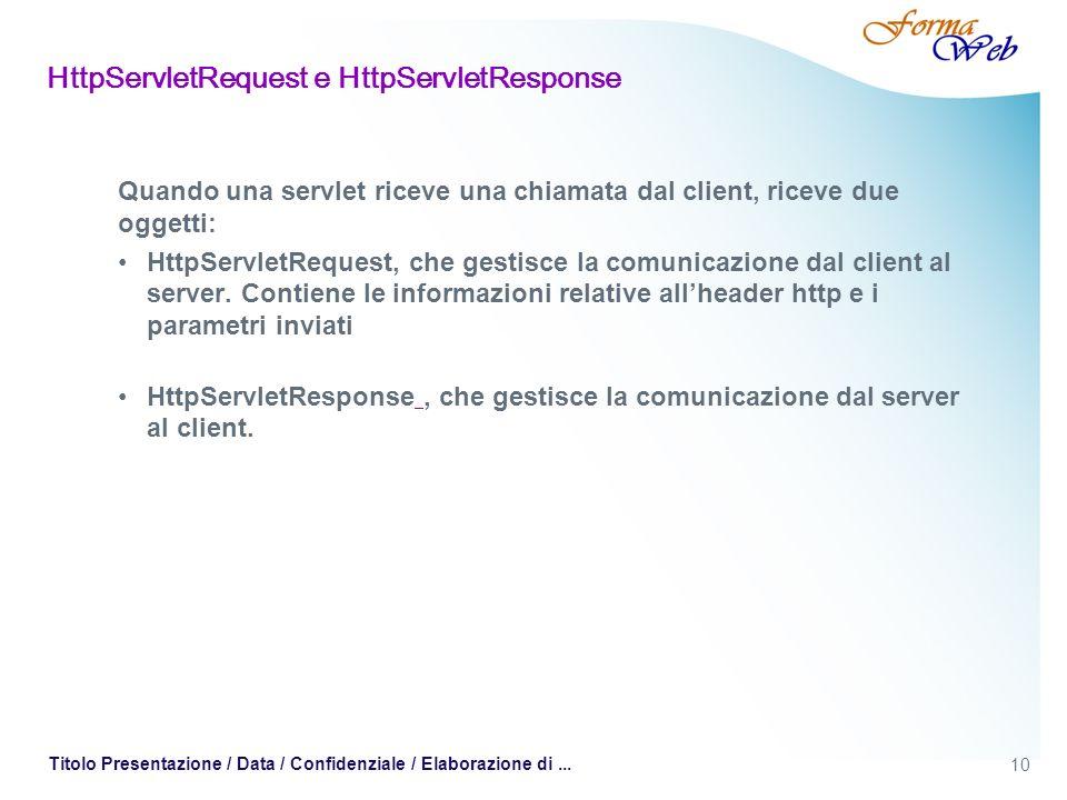 10 Titolo Presentazione / Data / Confidenziale / Elaborazione di... HttpServletRequest e HttpServletResponse Quando una servlet riceve una chiamata da