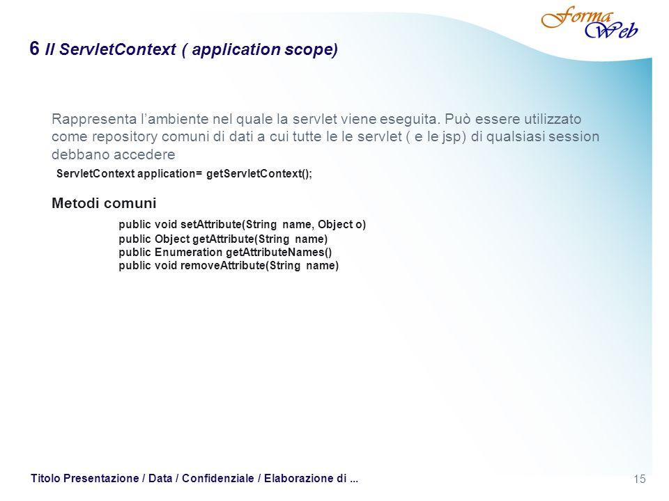 15 Titolo Presentazione / Data / Confidenziale / Elaborazione di... 6 Il ServletContext ( application scope) Rappresenta lambiente nel quale la servle