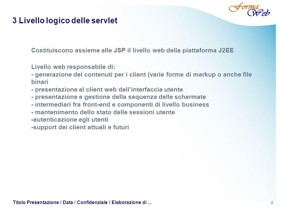 4 Titolo Presentazione / Data / Confidenziale / Elaborazione di... 3 Livello logico delle servlet Costituiscono assieme alle JSP il livello web della