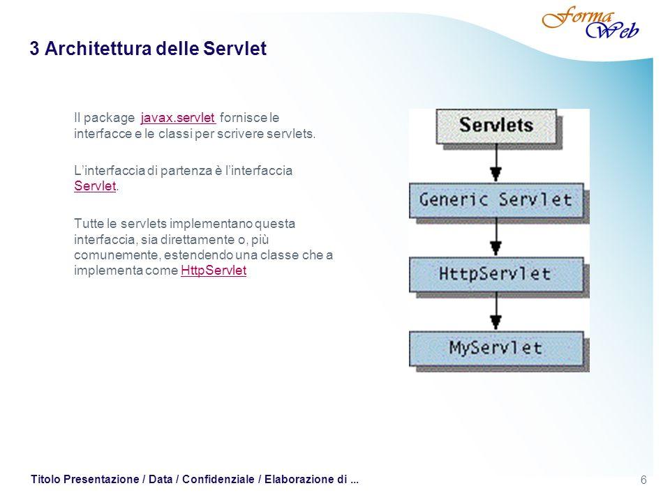 6 Titolo Presentazione / Data / Confidenziale / Elaborazione di... 3 Architettura delle Servlet Il package javax.servlet fornisce le interfacce e le c