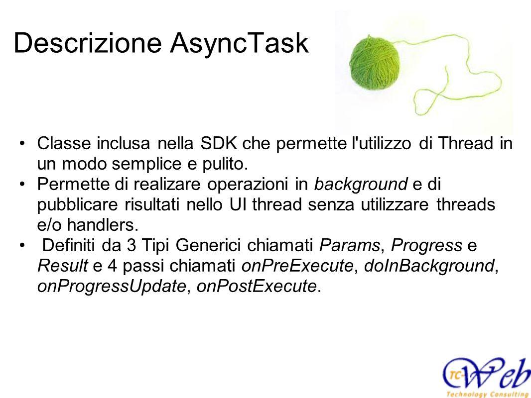 Descrizione AsyncTask Classe inclusa nella SDK che permette l'utilizzo di Thread in un modo semplice e pulito. Permette di realizare operazioni in bac