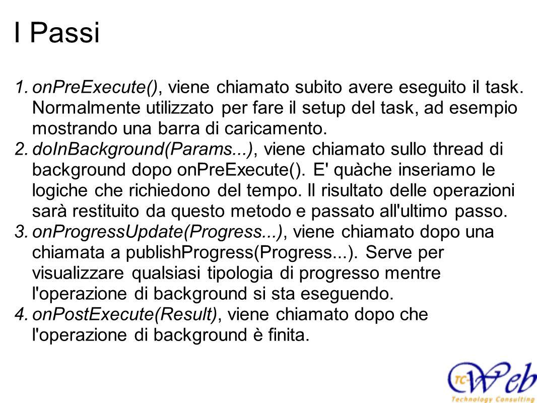 I Passi 1.onPreExecute(), viene chiamato subito avere eseguito il task. Normalmente utilizzato per fare il setup del task, ad esempio mostrando una ba