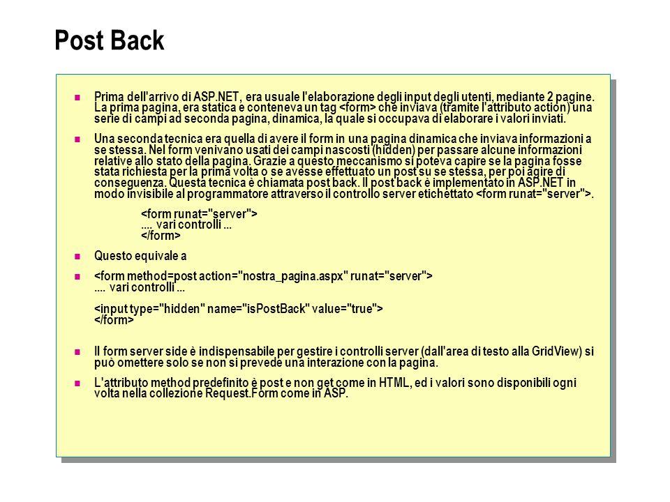 Post Back Prima dell'arrivo di ASP.NET, era usuale l'elaborazione degli input degli utenti, mediante 2 pagine. La prima pagina, era statica e contenev