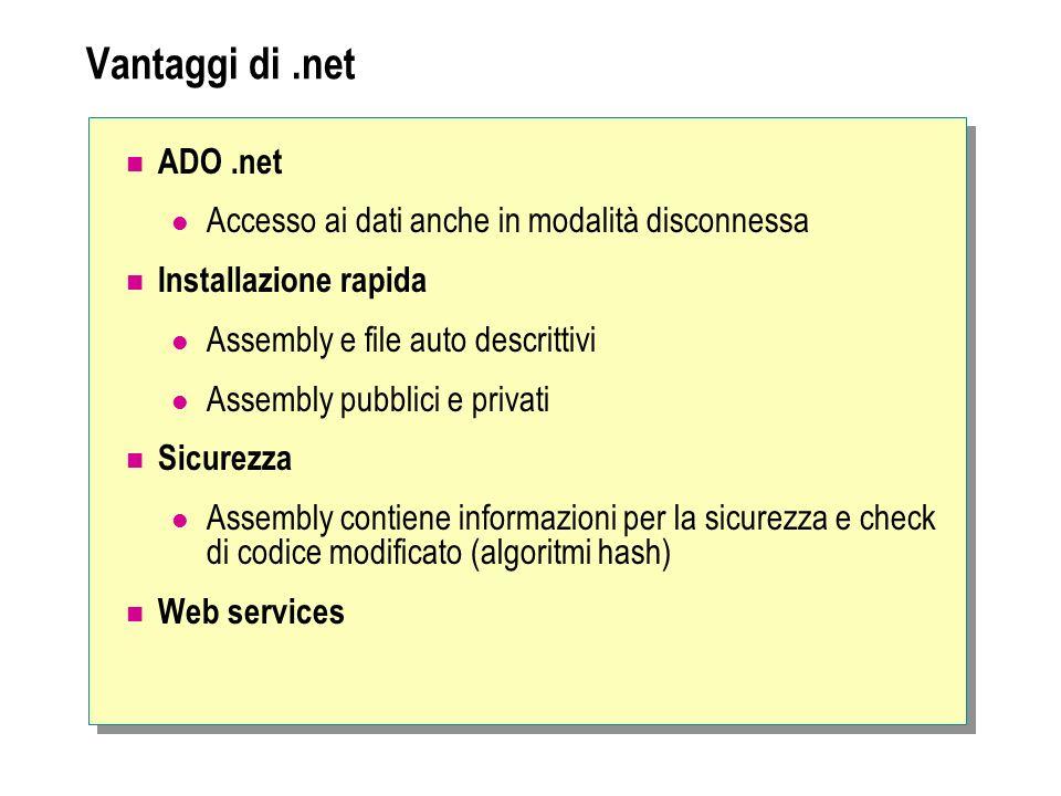 Vantaggi di.net ADO.net Accesso ai dati anche in modalità disconnessa Installazione rapida Assembly e file auto descrittivi Assembly pubblici e privat