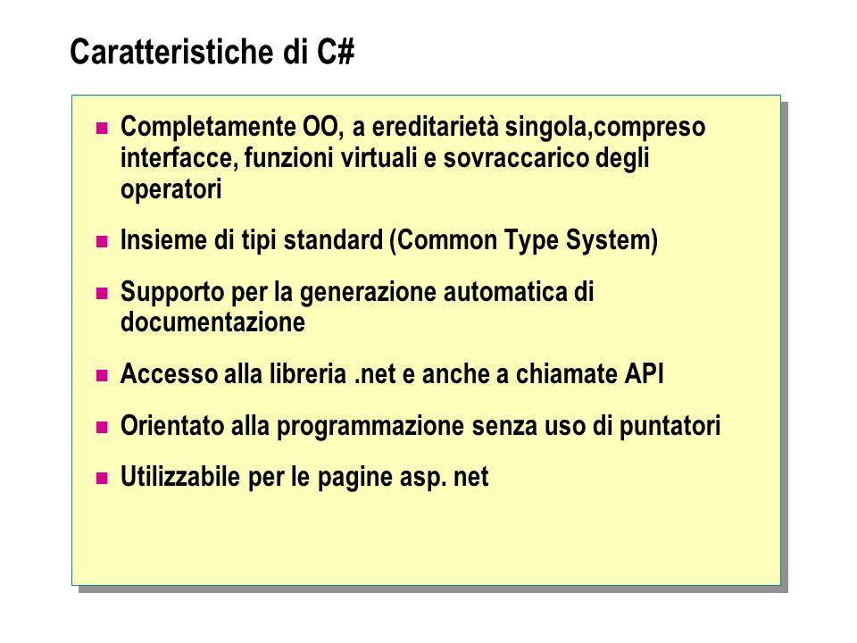 Caratteristiche di C# Completamente OO, a ereditarietà singola,compreso interfacce, funzioni virtuali e sovraccarico degli operatori Insieme di tipi s