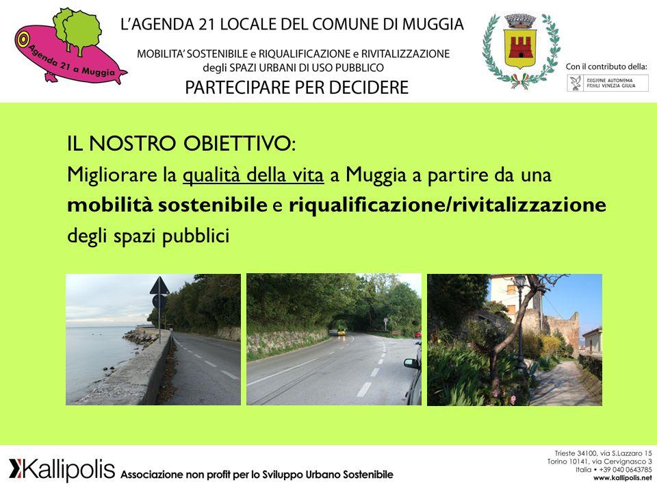 IL NOSTRO OBIETTIVO: Migliorare la qualità della vita a Muggia a partire da una mobilità sostenibile e riqualificazione/rivitalizzazione degli spazi pubblici