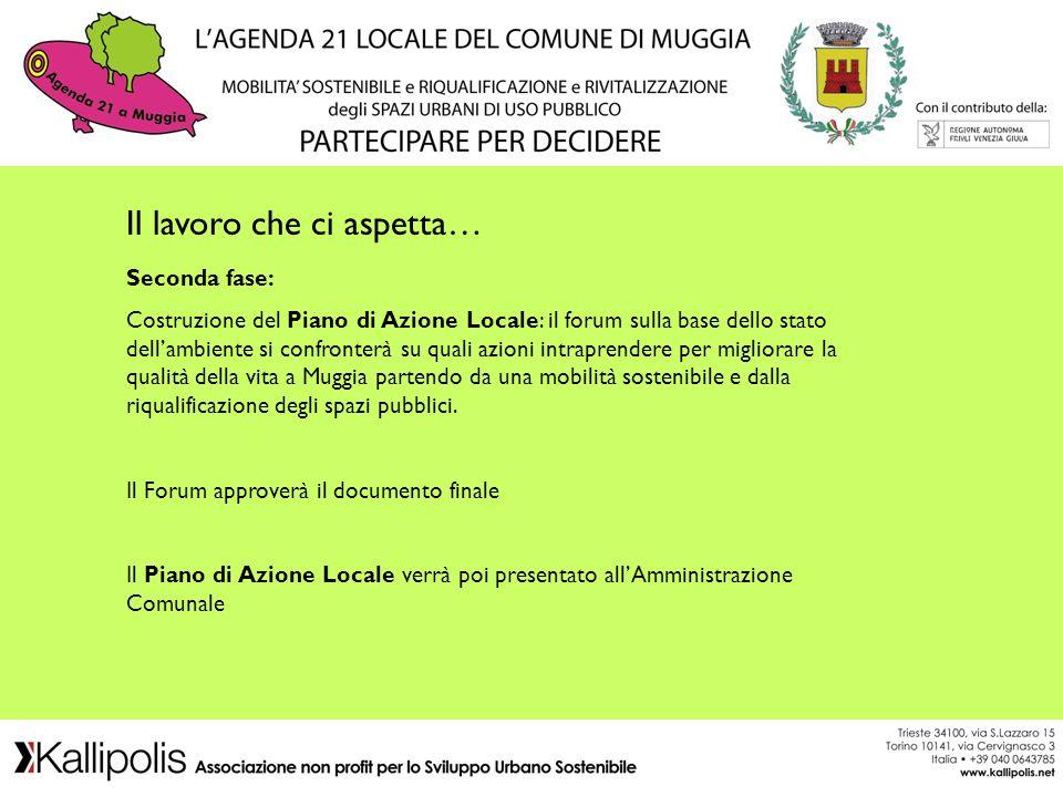 Il lavoro che ci aspetta… Seconda fase: Costruzione del Piano di Azione Locale: il forum sulla base dello stato dellambiente si confronterà su quali a