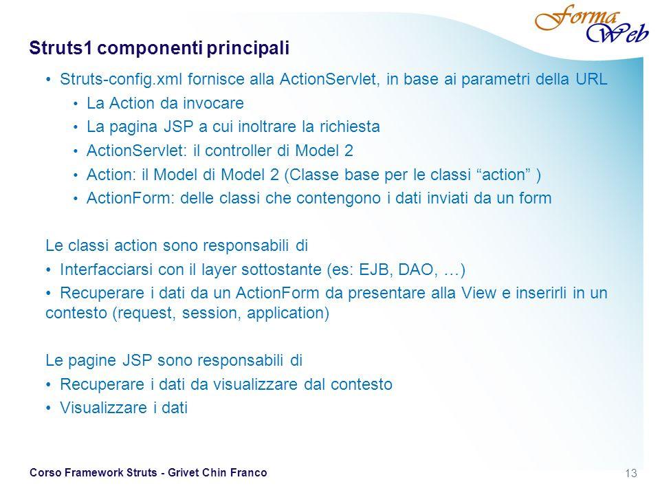 13 Corso Framework Struts - Grivet Chin Franco Struts1 componenti principali Struts-config.xml fornisce alla ActionServlet, in base ai parametri della URL La Action da invocare La pagina JSP a cui inoltrare la richiesta ActionServlet: il controller di Model 2 Action: il Model di Model 2 (Classe base per le classi action ) ActionForm: delle classi che contengono i dati inviati da un form Le classi action sono responsabili di Interfacciarsi con il layer sottostante (es: EJB, DAO, …) Recuperare i dati da un ActionForm da presentare alla View e inserirli in un contesto (request, session, application) Le pagine JSP sono responsabili di Recuperare i dati da visualizzare dal contesto Visualizzare i dati