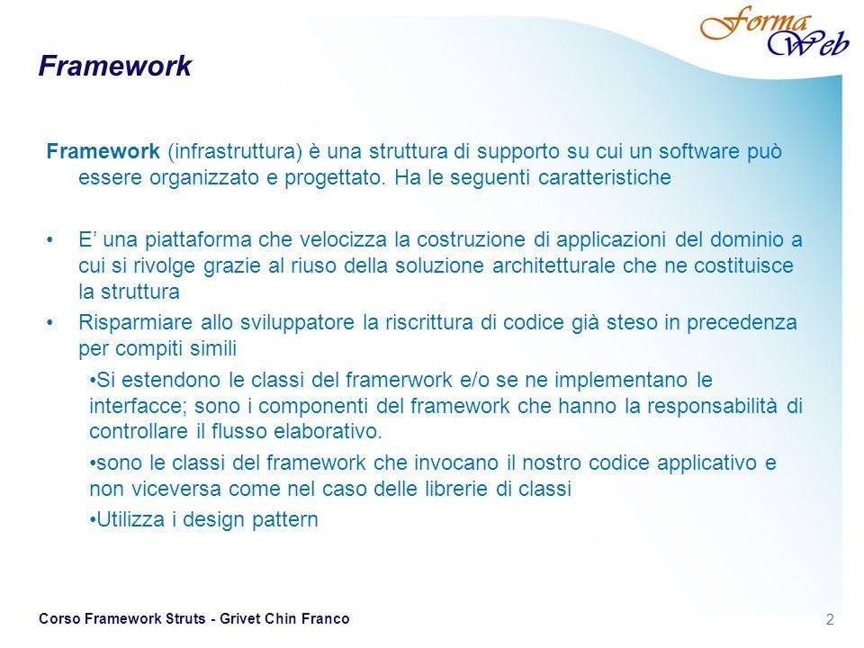 3 Corso Framework Struts - Grivet Chin Franco Framework VS Librerie Una libreria contiene funzioni o routine (metodi) che lapplicazione può invocare Framework fornisce componenti generici che collaborano tra loro che possono essere estesi (punti di estensione) per fornire nuove funzionalità Lo sviluppatore non scrive codice per coordinare le componenti.