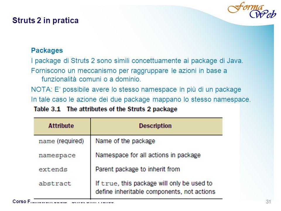 Struts 2 in pratica Packages I package di Struts 2 sono simili concettuamente ai package di Java.