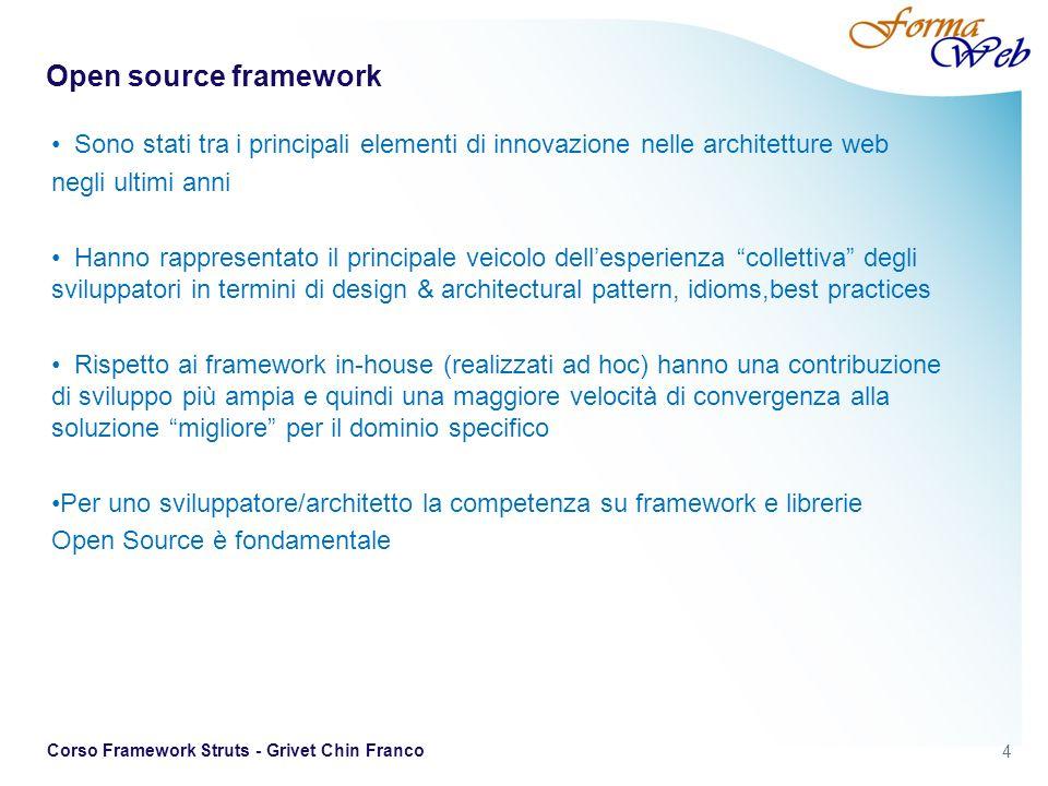 15 Corso Framework Struts - Grivet Chin Franco Struts 2 La versione 2 di Struts risulta profondamente rinnovata rispetto alla precedente.rispetto alla precedente In realtà il progetto è nato con il nome di WebWork, che non ha nessun legame particolare con la versione 1 di Struts, per poi passare, dopo una prima fase di analisi e sviluppo, al nome Struts 2.