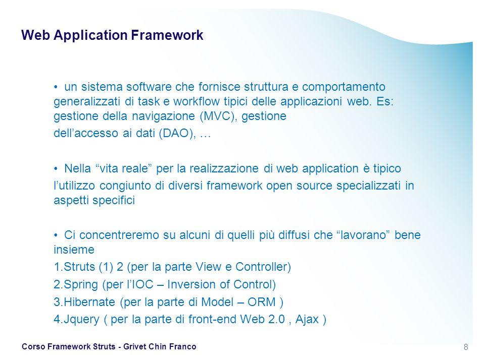 29 Corso Framework Struts - Grivet Chin Franco Struts 2 in pratica Constant serve per impostare prorietà del framework Il valore devMode=true abilita automaticamente un livello di informazioni di debugging e anche il ricaricamento delle varie risorse a ogni request Il processo di mapping è semplice: http:// + server:porta + /contesto + / package namespace + / azione.action http://localhost:8080/Struts2InAction/chapterTwo/HelloWorld.action i package dividono le action in zone logiche e gli associano un path