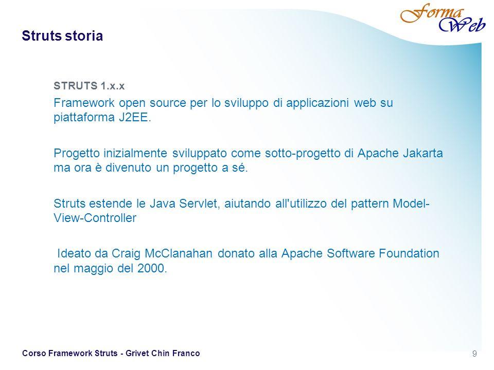 10 Corso Framework Struts - Grivet Chin Franco STRUTS 1 e 2 Struts 1 E un insieme di classi ed interfacce che costituiscono l infrastruttura per costruire web application Java EE conformi al design pattern Model 2 (MVC) Il suo ideatore è Craig McClanahan ed è stato donato alla Apache Software Foundation nel maggio del 2000 da parte di IBM.