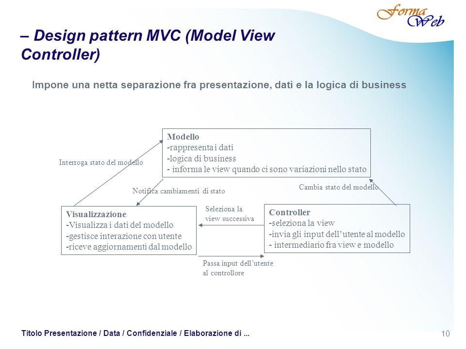 10 Titolo Presentazione / Data / Confidenziale / Elaborazione di... – Design pattern MVC (Model View Controller) Impone una netta separazione fra pres