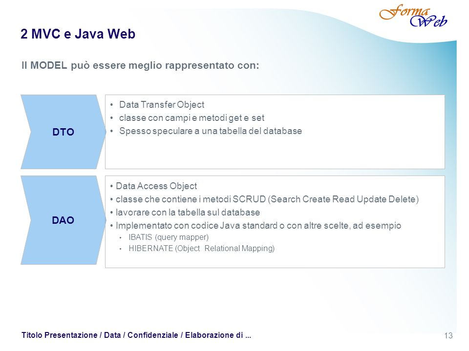 13 Titolo Presentazione / Data / Confidenziale / Elaborazione di... 2 MVC e Java Web Il MODEL può essere meglio rappresentato con: Data Transfer Objec