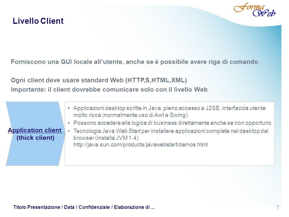 7 Titolo Presentazione / Data / Confidenziale / Elaborazione di... Livello Client Forniscono una GUI locale allutente, anche se è possibile avere riga