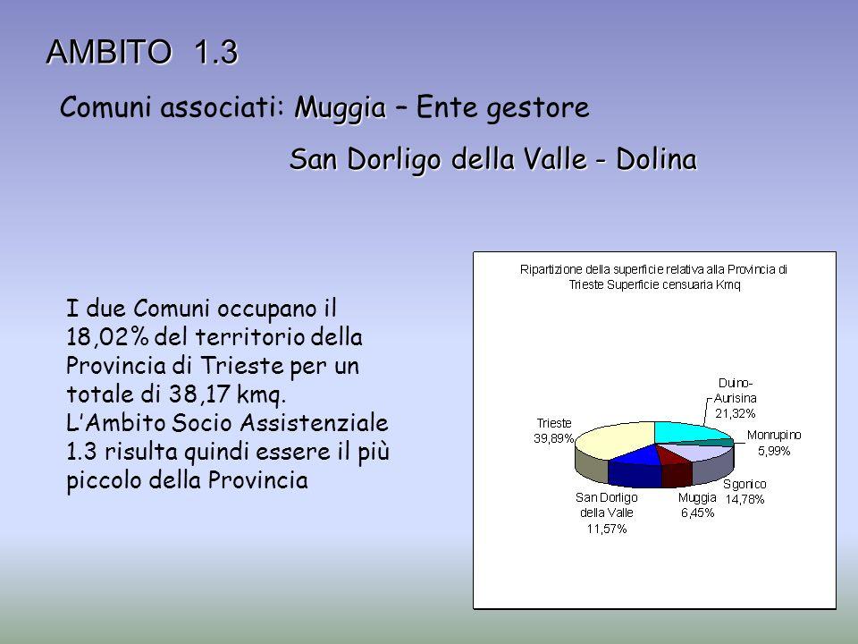 AMBITO 1.3 Muggia Comuni associati: Muggia – Ente gestore San Dorligo della Valle - Dolina I due Comuni occupano il 18,02% del territorio della Provin