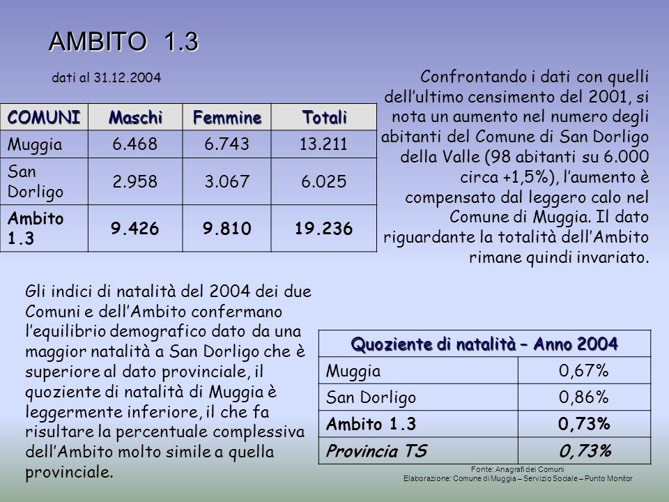 AMBITO 1.3 AMBITO 1.3 Quoziente di natalità – Anno 2004 Muggia0,67% San Dorligo0,86% Ambito 1.30,73% Provincia TS0,73% COMUNIMaschiFemmineTotali Muggi