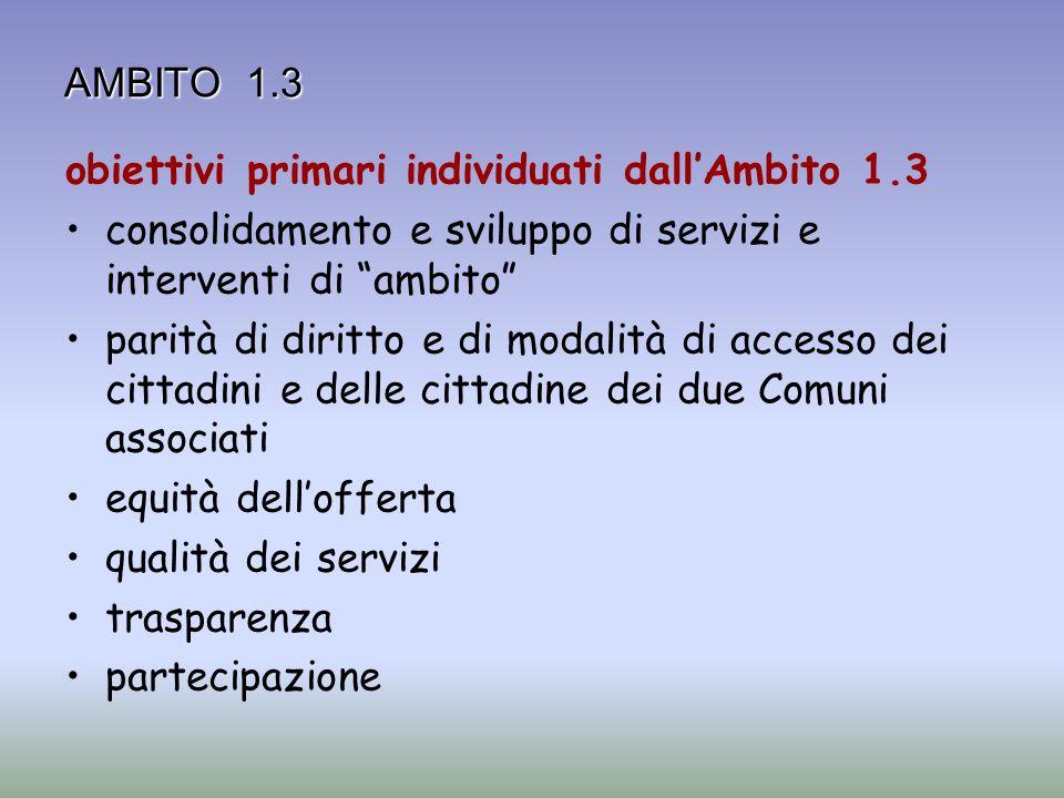 AMBITO 1.3 obiettivi primari individuati dallAmbito 1.3 consolidamento e sviluppo di servizi e interventi di ambito parità di diritto e di modalità di