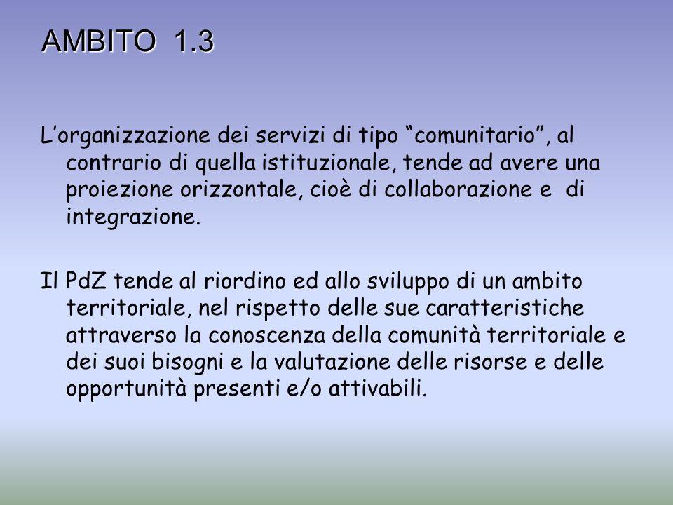 AMBITO 1.3 Lorganizzazione dei servizi di tipo comunitario, al contrario di quella istituzionale, tende ad avere una proiezione orizzontale, cioè di c