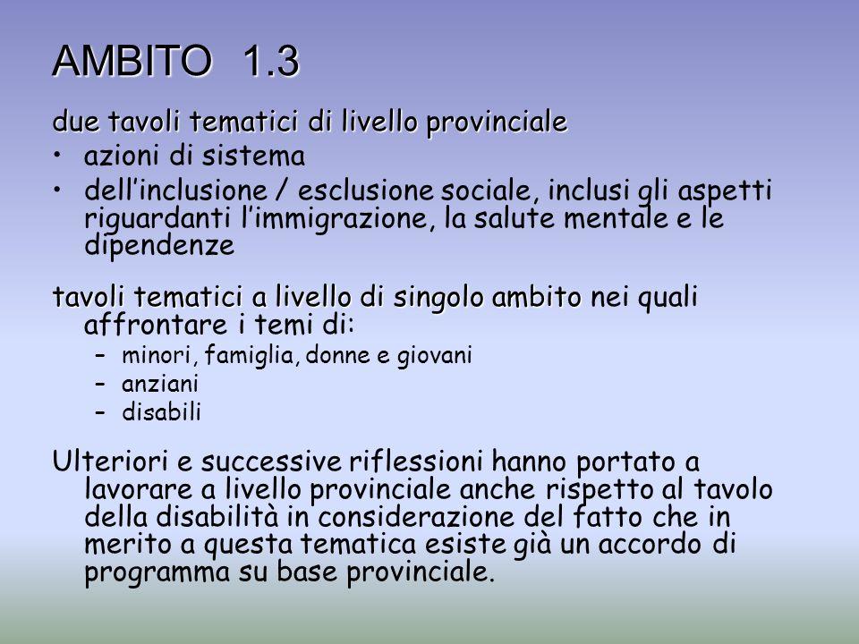 AMBITO 1.3 due tavoli tematici di livello provinciale azioni di sistema dellinclusione / esclusione sociale, inclusi gli aspetti riguardanti limmigraz