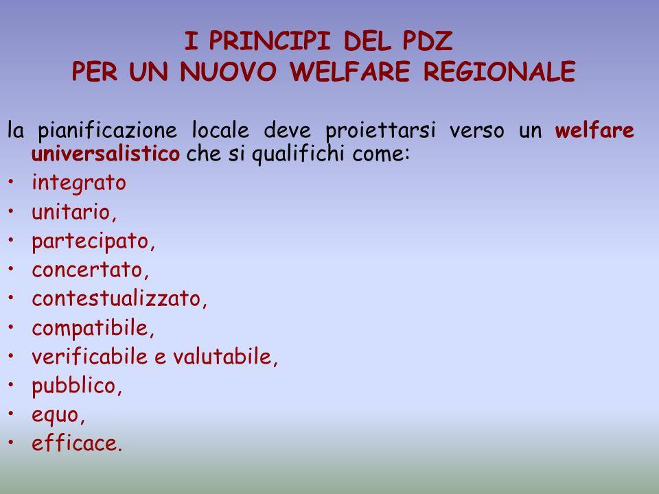 la pianificazione locale deve proiettarsi verso un welfare universalistico che si qualifichi come: integrato unitario, partecipato, concertato, contes