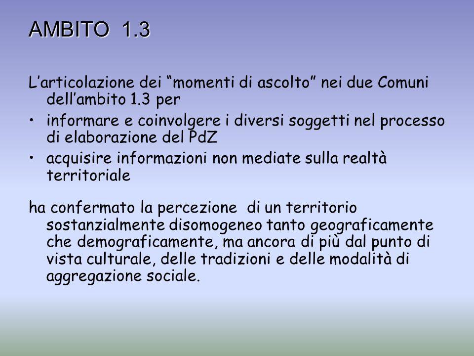 AMBITO 1.3 Larticolazione dei momenti di ascolto nei due Comuni dellambito 1.3 per informare e coinvolgere i diversi soggetti nel processo di elaboraz