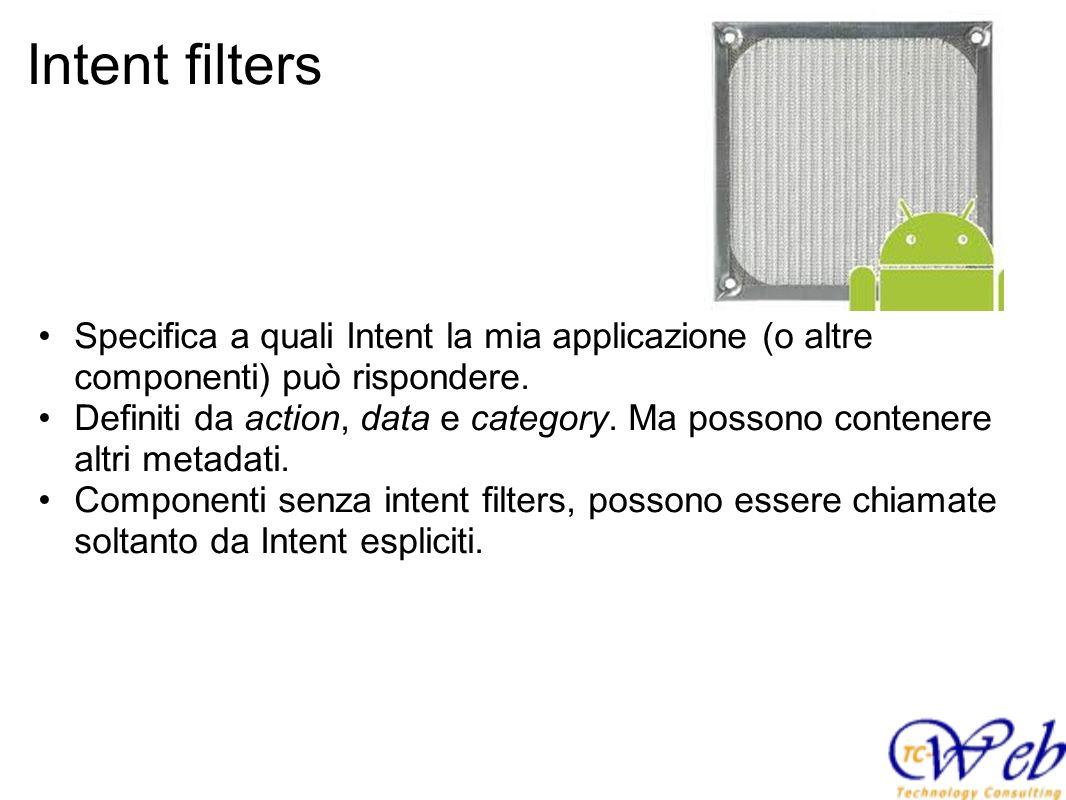 Intent filters Specifica a quali Intent la mia applicazione (o altre componenti) può rispondere.