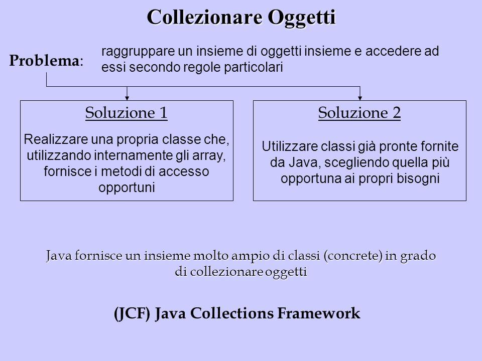Collezionare Oggetti Problema : raggruppare un insieme di oggetti insieme e accedere ad essi secondo regole particolari Soluzione 1Soluzione 2 Realizz