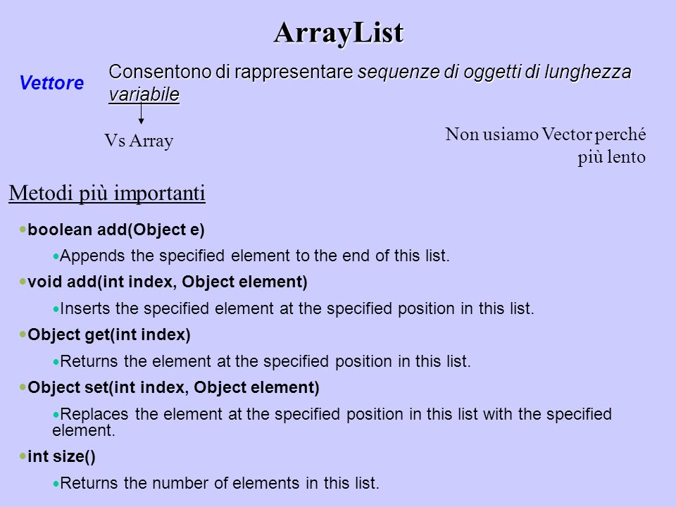 ArrayList Vettore Consentono di rappresentare sequenze di oggetti di lunghezza variabile Vs Array boolean add(Object e) Appends the specified element